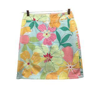 Talbots Teal Floral Pencil Skirt 8